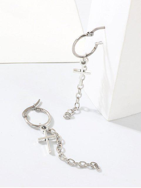 十字鏈圈耳環 - 銀  Mobile