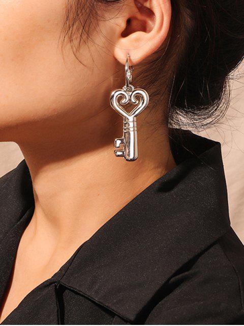 Hohle Herz Schlüssel Asymmetrische Tropfen Ohrringe - Silber  Mobile