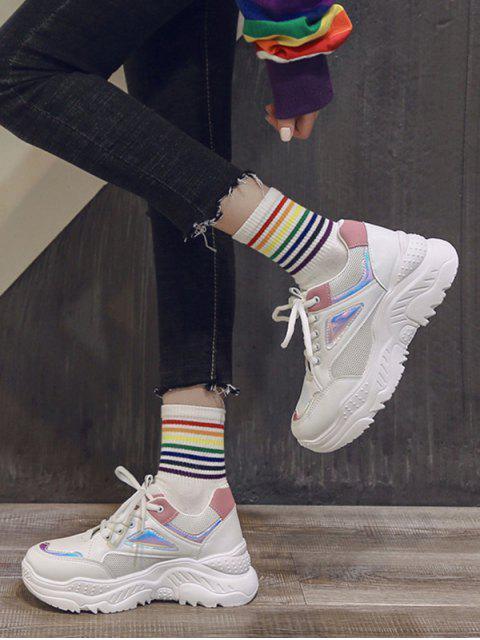 顏色阻斷激光微調爸爸鞋 - 白色 歐盟35 Mobile