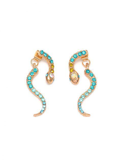 蛇水鑽耳釘耳環 - 金  Mobile