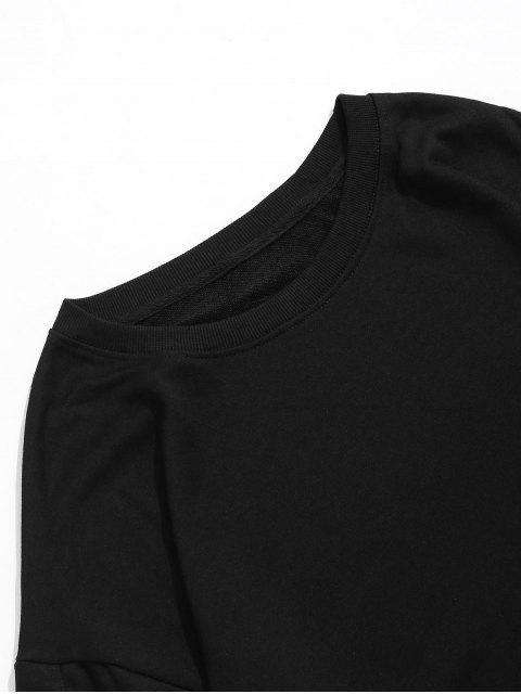 Farbblockierendes Faux Zweiteiliges Sweatshirt - Schwarz 2XL Mobile