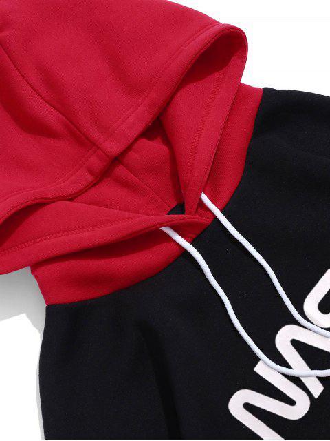 信圖形對比度色彩抓絨帽衫 - 紅 M Mobile