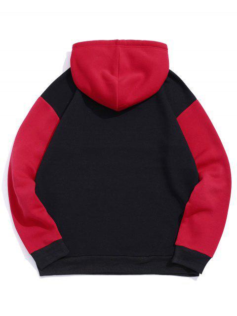 Buchstabe Grafik Kontrast Farbe Vlies Hoodie - Rot 2XL Mobile