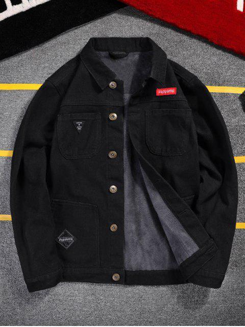 fashion Letter Pattern Button Denim Fluffy Jacket - BLACK S Mobile