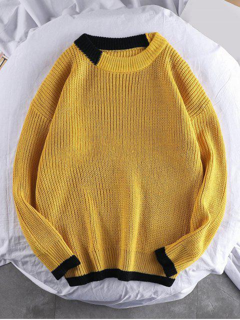 Farbe Gespleißter Rundhalsausschnitt Pullover - Biene Gelb 2XL Mobile