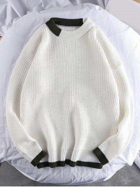 色彩拼接圓領套頭衫毛衣 - 白色 2XL Mobile