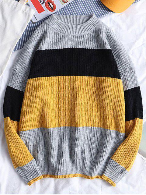 Farbe Gespleißte Pullover Beiläufiges Sweatshirt - Biene Gelb M Mobile