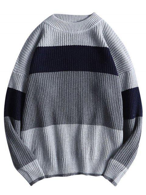 色彩拼接毛衣休閒毛衣 - 灰色 M Mobile