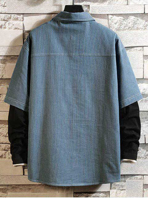 Rayas patrón de la letra completa mangas de la camisa - Hiedra Azul L Mobile