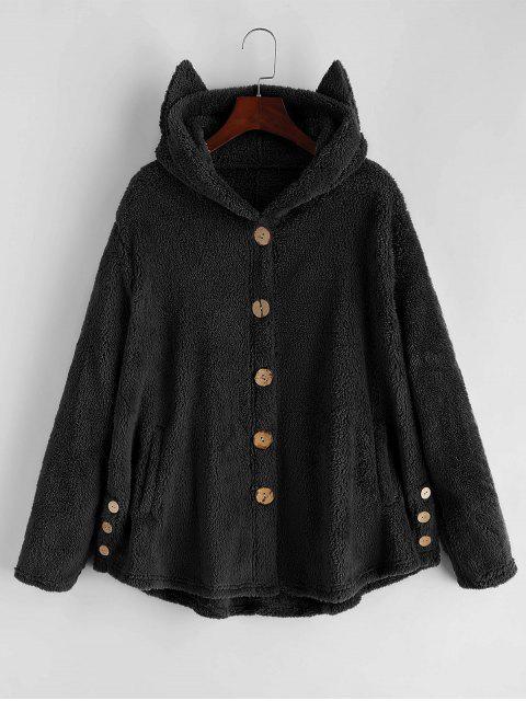 TaschenKatze Flauschige Jacke mit Knopf - Schwarz M Mobile