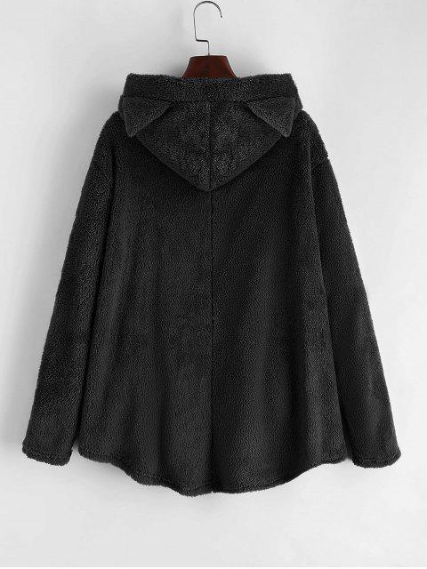 口袋貓連帽按鈕向上蓬鬆夾克 - 黑色 M Mobile