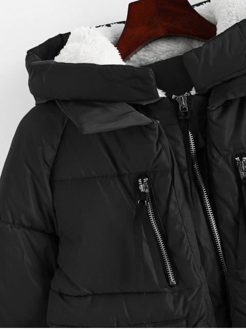 Kapuze Reißverschluss Vorne Pelz Linie Gesteppter Mantel - Schwarz XL Mobile