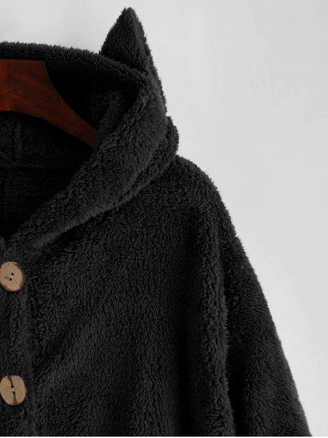 TaschenKatze Flauschige Jacke mit Knopf - Schwarz L Mobile