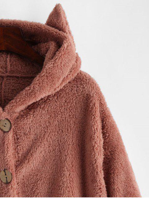 口袋貓連帽按鈕向上蓬鬆夾克 - 粉 M Mobile