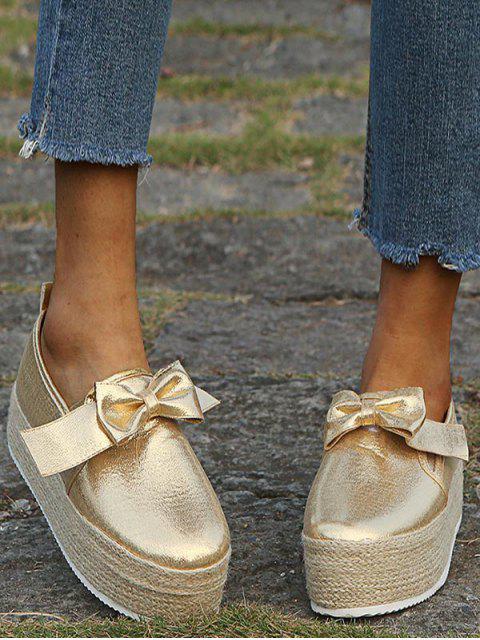 Chaussures Espadrille Plateforme avec Nœud Papillon - Or EU 37 Mobile