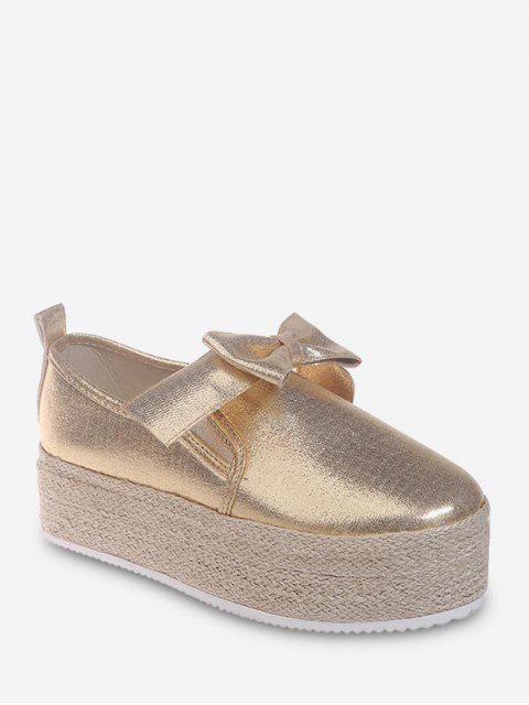 Chaussures Espadrille Plateforme avec Nœud Papillon - Or EU 41 Mobile
