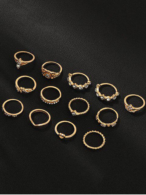 13pcs Hohle Strass-Herz-Ring Set - Gold  Mobile