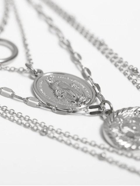 Hohle Blumen-Münze Geschichtete Halskette - Silber  Mobile