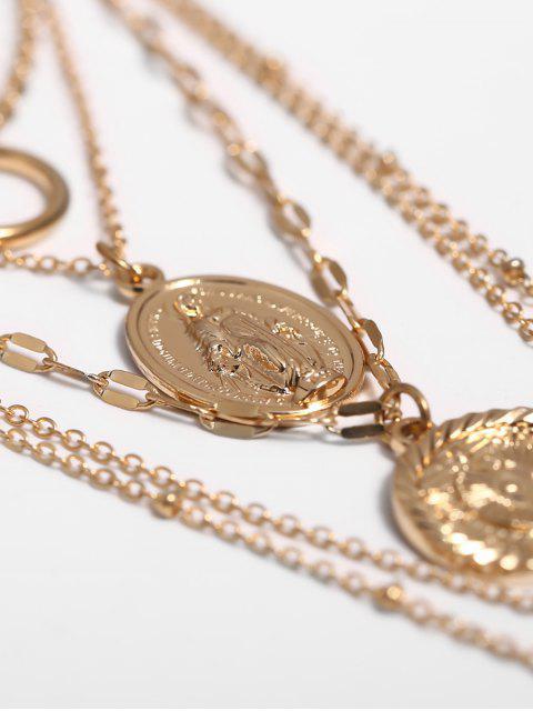 Hohle Blumen-Münze Geschichtete Halskette - Gold  Mobile
