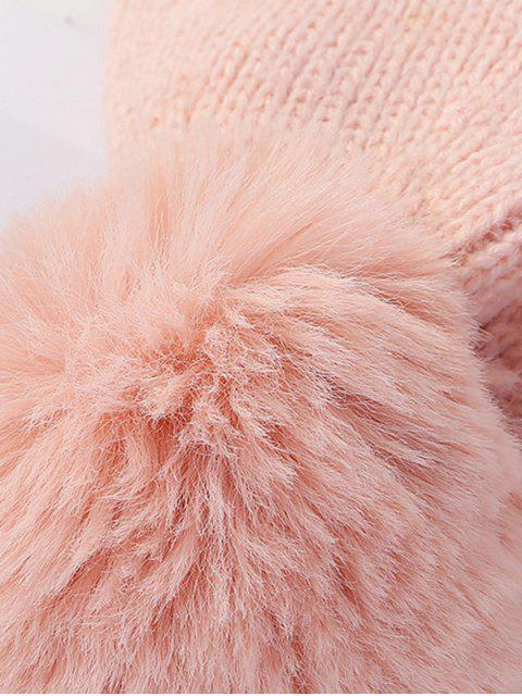 Bonnet Tricoté avec Strass en Laine - Rose Léger   Mobile
