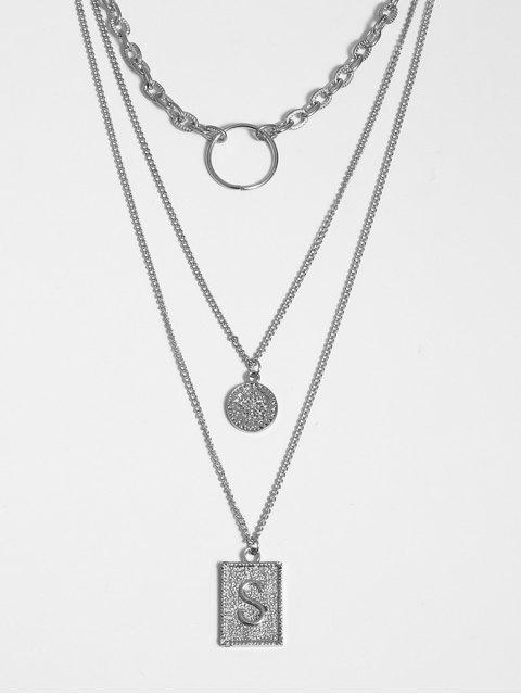 Geometrischer Buchstabe Anhänger  Geschichtete Halskette - Silber  Mobile