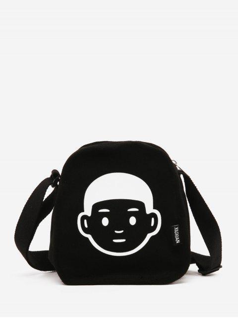 Karikatur-Gesicht Gedruckte Leinwand Umhängetasche - Schwarz  Mobile