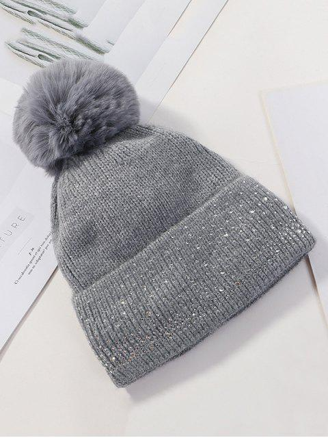 羊毛泡泡龍水鑽針織帽 - 深灰色  Mobile