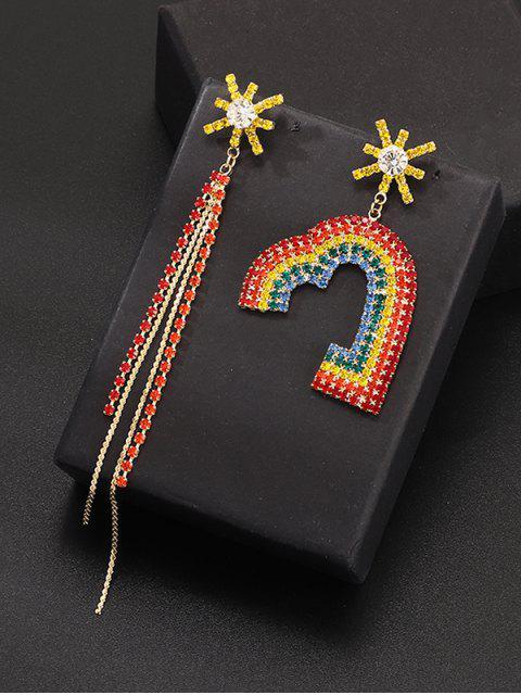 Асимметричные Серьги Форма сердца Горный хрусталь С бахромой - Многоцветный  Mobile