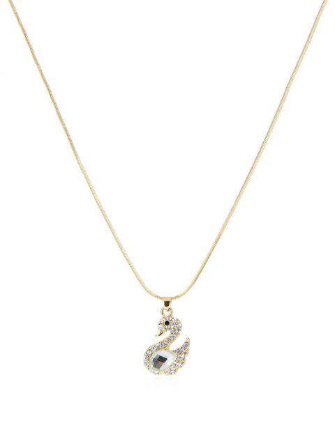 Strass Schwan-Form-Halskette - Gold  Mobile