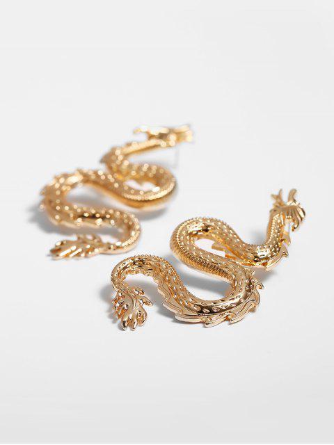Geschnitzte Drachen-Form-Bolzen-Ohrringe - Gold  Mobile