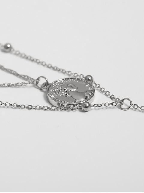 Gravierte Münze Anhänger Geschichtete Halskette - Silber  Mobile