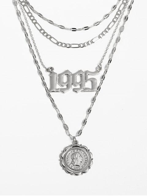 Münzanhänger Hohl Anzahl Geschichtete Halskette - Silber  Mobile