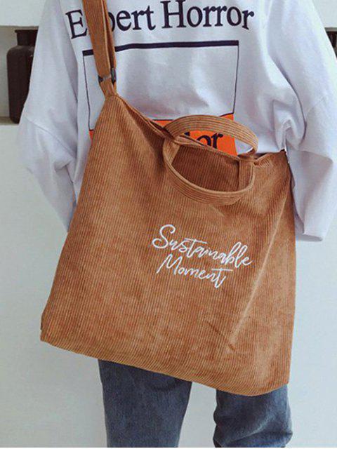別緻的燈芯絨學生字符串手袋 - 淺褐色  Mobile