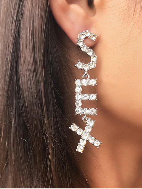 Buchstaberhinestone-Bolzen-Tropfen-Ohrringe - Silber  Mobile