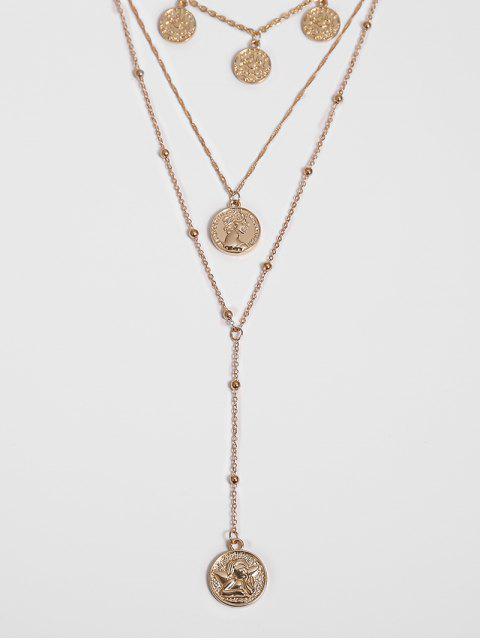 Gravierte Münze Anhänger Geschichtete Halskette - Gold  Mobile
