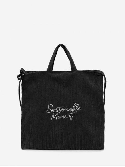 Scheibe Korduroy Students String Handtasche - Schwarz  Mobile