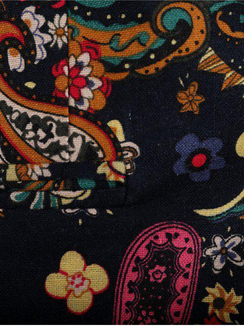 unique Paisley Floral Tribal Print Single Button Slit Blazer - MULTI-B L Mobile
