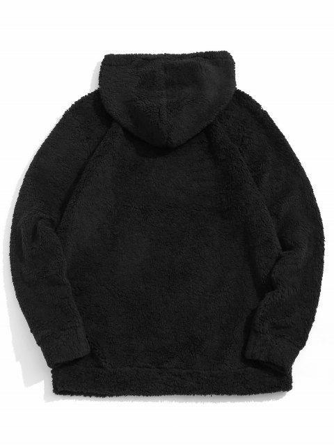 Flauschiges Hoodie mit Kordelzug und Farbblock - Schwarz 2XL Mobile
