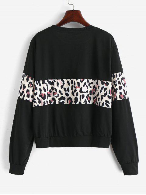 Kontrastes Leopard Panel Pullover Sweatshirt - Schwarz M Mobile