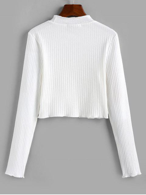 unique ZAFUL Mock Neck Lettuce Letter Crop Top - WHITE M Mobile