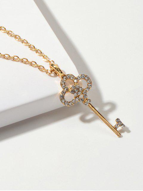 Legierung Strass Schlüssel Kette Halskette - Gold  Mobile