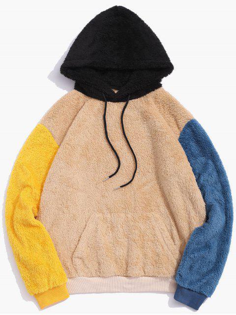 Lässige Farbe Gespleißter Taschen Design Kapuzenpullover - Multi 2XL Mobile