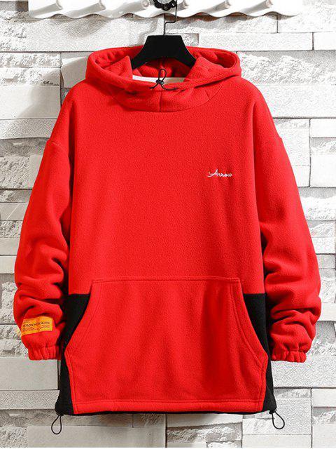 Farbblock Gespleißte Buchstaben Stickerei Lässige Fleece Hoodie - Rot 4XL Mobile