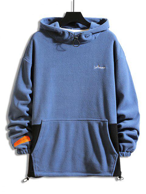 Colorblock拼接字母刺繡休閒抓絨帽衫 - 藍色 M Mobile