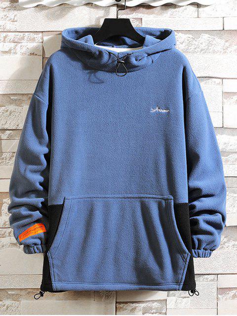 Farbblock Gespleißte Buchstaben Stickerei Lässige Fleece Hoodie - Blau 4XL Mobile