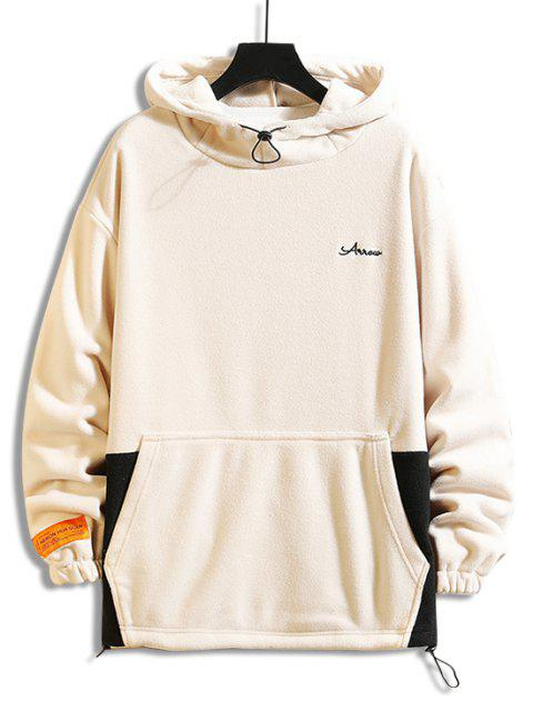 Farbblock Gespleißte Buchstaben Stickerei Lässige Fleece Hoodie - Khaki 4XL Mobile