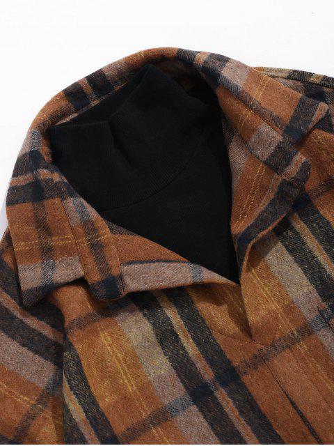 Alte Karierte Muster Taschen Stil Jacke - Kaffee M Mobile