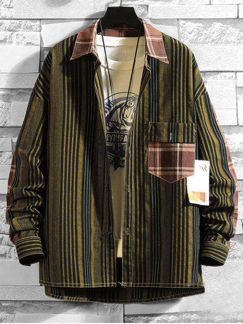 new Striped Pattern Pocket Button Design Jacket - MULTI-B M Mobile