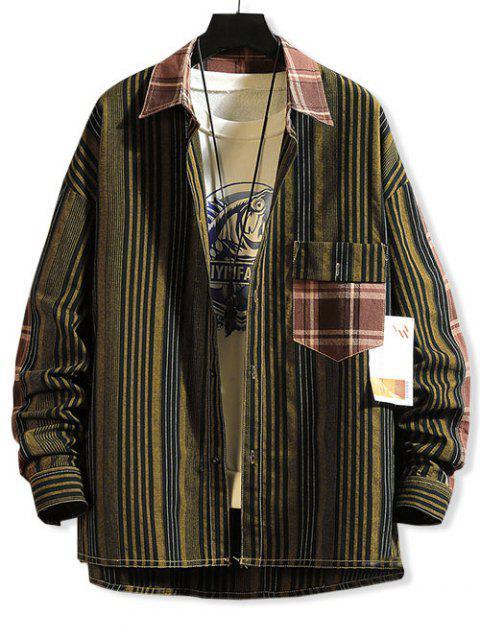 Streifenmuster Taschen Knopf Design Jacke - Multi-B 2XL Mobile
