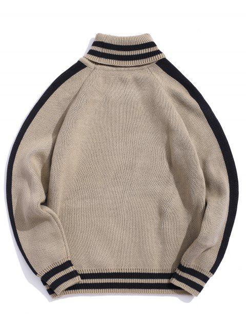 Casual Gestreifter Muster Pullover - Tan 2XL Mobile